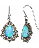 Tori Hill Simulated Blue Opal and Marcasite Sterling Silver Frame Teardrop Earrings, Women's, White