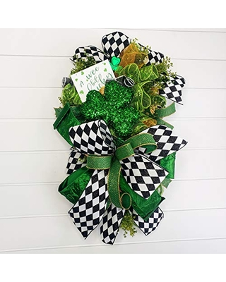 Large St. Patrick's Day Wreath for front door,St. Patrick's Day Swag