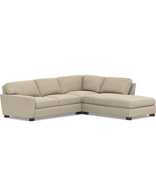 Turner Square Arm Upholstered Left 3-Piece Bumper Sectional, Down Blend Wrapped Cushions, Sunbrella(R) Performance Chenille Cloud