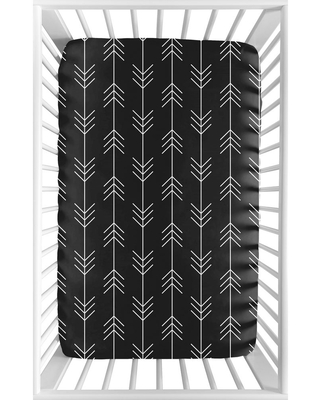 Woodland Arrow Collection Baby Boy Fitted Mini Portable Crib Sheet - Black and White Rustic Country Lumberjack