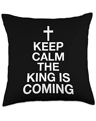Evangelical Rapture Shirts & Gifts for Christians Keep Calm The King Is Coming Throw Pillow, 18x18, Multicolor