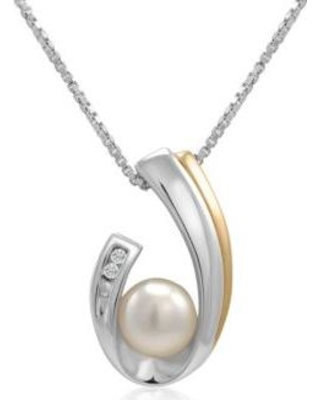 Belk & Co. Gray Freshwater Pearl & Diamond Necklace in Sterling Silver and 14K Yellow Gold