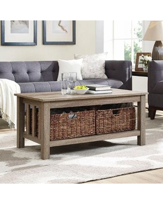 """40"" Wood Storage Coffee Table w/ Totes in Driftwood - Walker Edison C40MSTAG"""