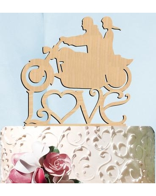 aMonogram Art Unlimited Harley His and Her Love Wooden Cake Topper 94353 / 94353P Color: Natural