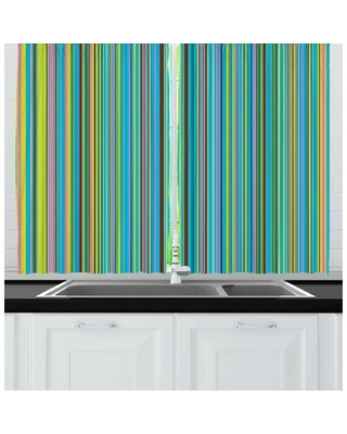 2 Piece Abstract Vertical Retro Style Thin Stripes Colorful Bands in Contrast Tones Line Artwork Kitchen Curtain East Urban Home