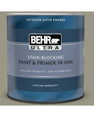 BEHR ULTRA 1 qt. #PPU8-20 Dusty Olive Satin Enamel Interior Paint and Primer in One