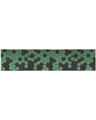 """Latitude Run Avicia Tumbling Cube Table Runner W001561256 Size: 72"""" x 16"""" Material: Polyester Color: Green"""