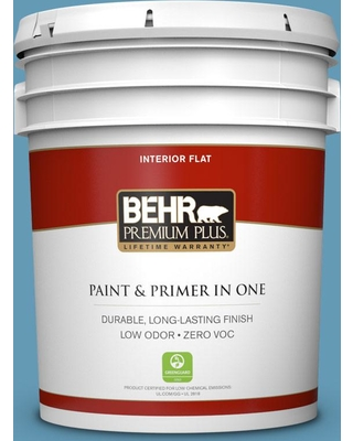 BEHR Premium Plus 5 gal. #S490-4 Yacht Blue Flat Low Odor Interior Paint and Primer in One