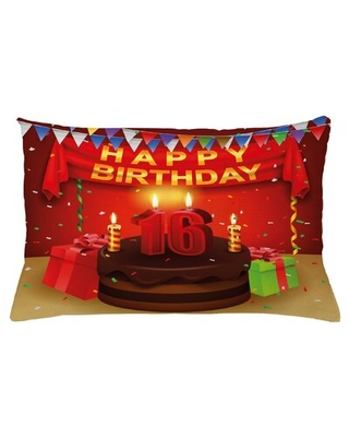 "16Th Birthday Indoor / Outdoor Lumbar Pillow Cover East Urban Home Size: 16"" x 26"""