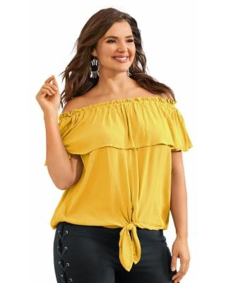 Off-Shoulder Tie Front Top (Size S) Yellow, Viscose