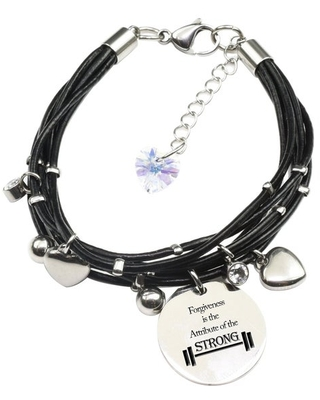 Genuine Leather Bracelet made with Crystals from Swarovski - Forgiveness