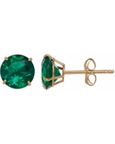 Everlasting Gold Lab-Created Emerald 10k Gold Stud Earrings, Women's, Green