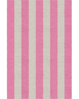 Clawson Stripe Hand-Woven Wool Silver/Pink Area Rug Rosecliff Heights Rug Size: Rectangle 9' x 12'