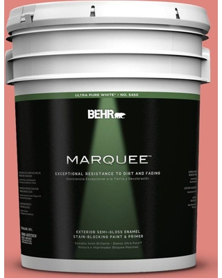 BEHR MARQUEE 5 gal. #170D-5 Mellow Coral Semi-Gloss Enamel Exterior Paint and Primer in One