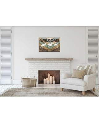 """Millwood Pines Rustic 'Welcome to Our Cabin Deer and Buck Silhouette' Graphic Art Print CG191423 Size: 24"""" H x 16"""" W x 1.5"""" D Format: Wrapped Canvas"""