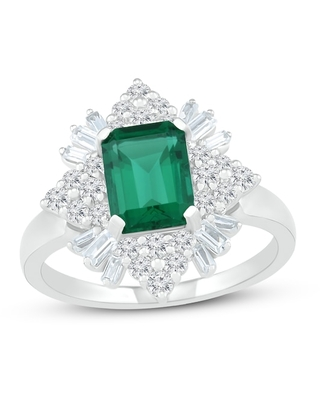Lab-Created Emerald & Lab-Created White Sapphire Ring Sterling Silver