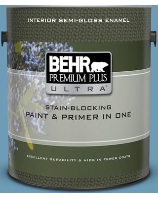 BEHR Premium Plus Ultra 1 gal. #560D-5 Ocean View Semi-Gloss Enamel Interior Paint and Primer in One