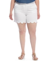 Crown & Ivy™ White Plus Size Solid Jacquard Scallop Shorts