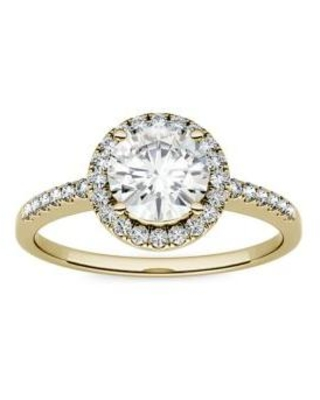Charles & Colvard Yellow Gold 1.3 ct. t.w. Lab Created Moissanite Halo Ring in 14K Yellow Gold