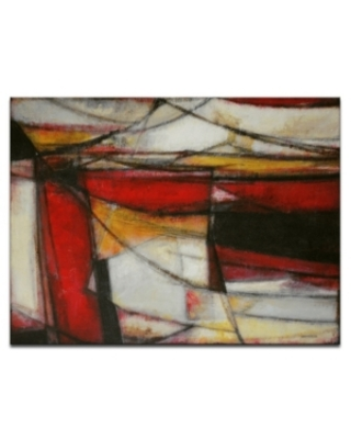 """Ready2HangArt, 'Excited' Red Abstract Canvas Wall Art, 20x30"""""""