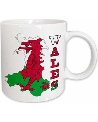 """East Urban Home Flag of Wales in Outline Map of Wales and Country Name Coffee Mug W000803894 Size: 4.9"""" H x 4.65"""" W x 3.33"""" D"""
