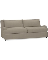 "Carlisle Slipcovered Grand Sofa 90.5"" with Bench Cushion, Polyester Wrapped Cushions, Performance Everydayvelvet(TM) Carbon"