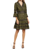 Shani Embroidered Lace Fit & Flare Cocktail Dress, Size 14 in Black/Green at Nordstrom