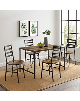 Walker Edison Person Rectangle Kitchen Table Modern Industrial Farmhouse Wood Dining Chairs, Set, Reclaimed Barnwood