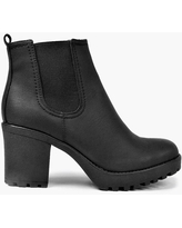 Womens Chunky Cleated Heel Chelsea Boots - Black - 10