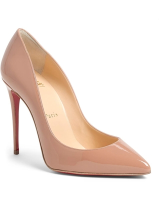 Christian Louboutin Pigalle Follies Pointed Toe Pump, Size 4Us in Nude Patent at Nordstrom