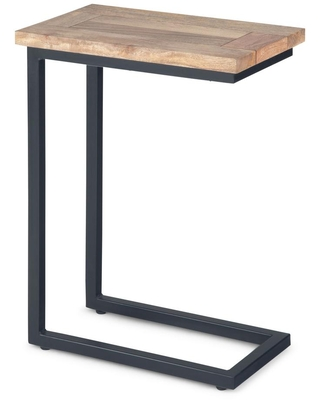 Brooklyn + Max Glenna Solid Mango Wood and Metal 18 inch Wide Rectangle Industrial C Side Table in Natural, Fully Assembled