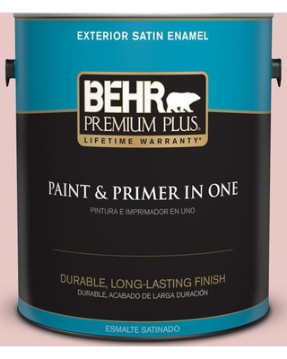BEHR PREMIUM PLUS 1 gal. #150E-2 Kashmir Pink Satin Enamel Exterior Paint and Primer in One