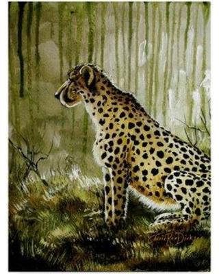 """World Menagerie 'Cheetah On Green' Acrylic Painting Print on Wrapped Canvas WRME1617 Size: 47"""" H x 35"""" W x 2"""" D"""