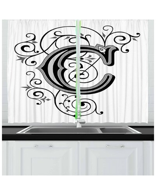 2 Piece Letter C Kitchen Curtain East Urban Home