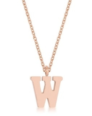 Elaina Rose Gold Stainless Steel A TO Z Initial Necklace (W)