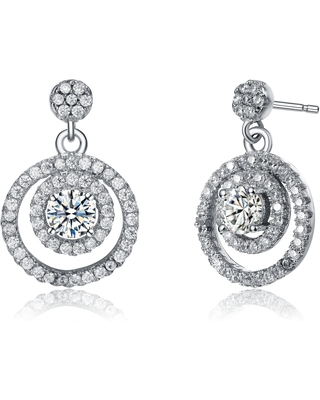 Collette Z Rhodium Plated Clear Round Cubic Zirconia Round Drop Earrings