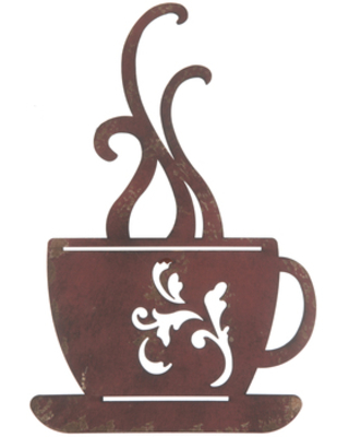 Red Metal Coffee Cup Wall Decor