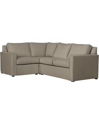 Cameron Square Arm Slipcovered Right Arm 3-Piece Corner Sectional, Polyester Wrapped Cushions, Performance Everydayvelvet(TM) Carbon