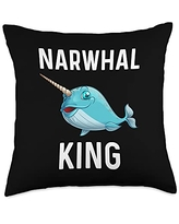 Best Narwhale & Canine Mammal Zoo Species Designs Funny Narwhal Gift For Men Grandpa Whale Fish Ocean Animal Throw Pillow, 18x18, Multicolor