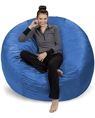 Sofa Sack - Plush Ultra Soft Bean Bags Chairs for Kids, Teens, Adults - Memory Foam Beanless Bag Chair with Microsuede Cover - Foam Filled Furniture for Dorm Room - Royal Blue 6'