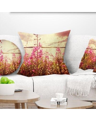 """East Urban Home Floral Meadow with Flowers Alaska Pillow FTIF4694 Size: 18"""" x 18"""" Product Type: Throw Pillow"""