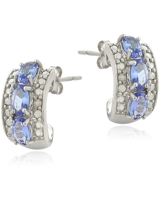Glitzy Rocks Sterling Silver Tanzanite and Diamond Accent Hoop Earrings (Tanzanite)