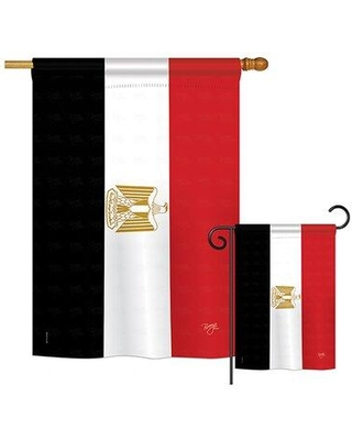 Breeze Decor 2 Piece Egypt of the World Nationality Impressions Decorative Vertical 2-Sided Polyester Flag Set BD-CY-S-108246-IP-BO-D-US15-BD