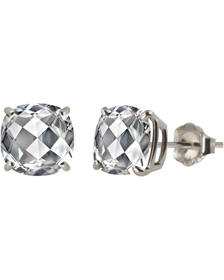 Sterling Silver 8mm Checkerboard Cushion Lab-created White Sapphire Stud Earrings (Created White Sapphire)