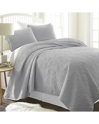 Linen Market Patterned Quilted Coverlet Set, King/California King, Gray