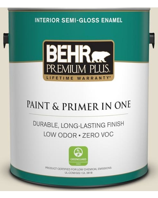 BEHR Premium Plus 1 gal. #MQ3-40 Varnished Ivory Semi-Gloss Enamel Low Odor Interior Paint and Primer in One
