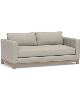 "Jake Upholstered Loveseat 70"" with Wood Legs, Polyester Wrapped Cushions, Performance Slub Cotton Silver Taupe"