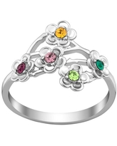 Personalized Women's Sterling Silver or Gold over Silver Family Flower Birthstone Ring