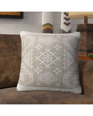 "Loon Peak Cyrill Indoor/Outdoor Throw Pillow LNPK7148 Size: 16"" H x 16"" W x 5"" D Color: Beige/ White"