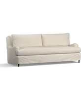 """Carlisle Slipcovered Grand Sofa 90.5"""" with Bench Cushion, Down Blend Wrapped Cushions, Twill Cream"""